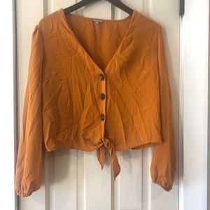 Large burnt orange long sleeve crop top